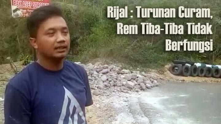 Koropak.co.id - Akibat Rem Blong, Truk Muatan di Garut Nyaris Terjun Ke Jurang (2)