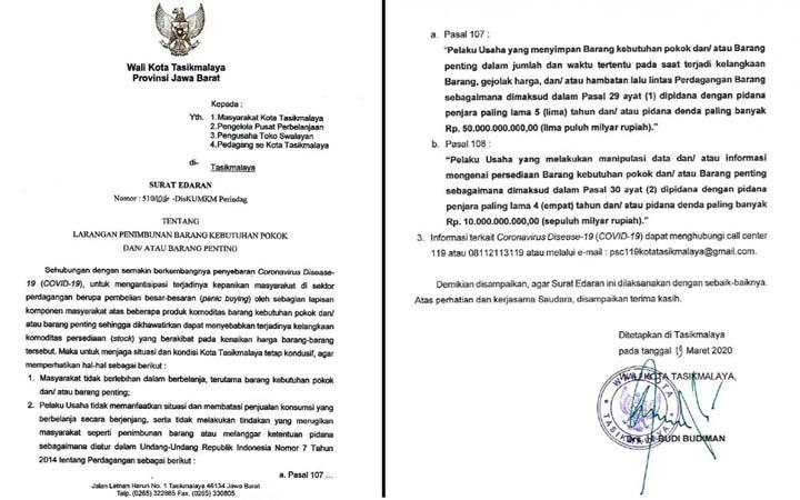 Koropak.co.id - Edaran Walikota, Penimbun Bahan Kebutuhan Pokok Diancam Pidana (2)