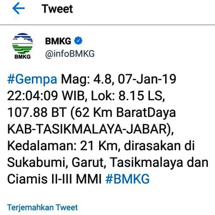 Koropak.co.id - Gempa 4,8 Skala Richter Guncang Tasikmalaya (2)