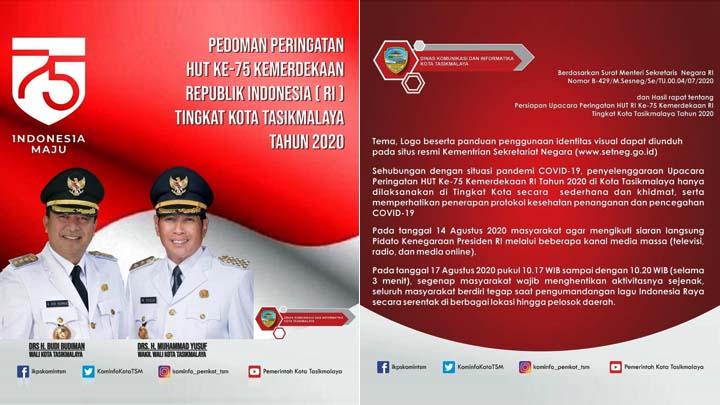 Koropak.co.id - Ini Pedoman Peringatan HUT Ke-75 Kemerdekaan Republik Indonesia Tingkat Kota Tasikmalaya