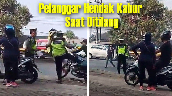 Koropak.co.id - Kabur dari Razia, Pria Ini Ditendang Polisi Hingga Terjatuh (2)