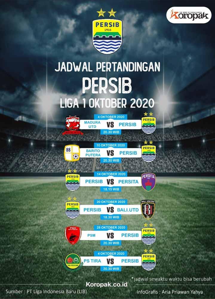 Koropak.co.id - Liga 1 2020 Dilanjutkan Oktober, Ini Jadwal Lengkap Persib Bandung