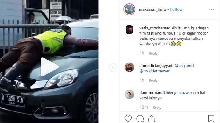 Koropak.co.id - Viral! Inilah Aksi Polisi Nemplok di Kap Mobil (2)