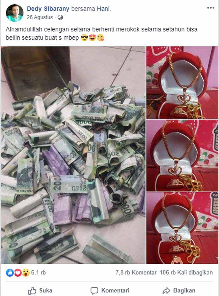 Koropak.co.id - Viral! Pria di Tasikmalaya Belikan Istri Perhiasan Hasil Berhenti Merokok (2)